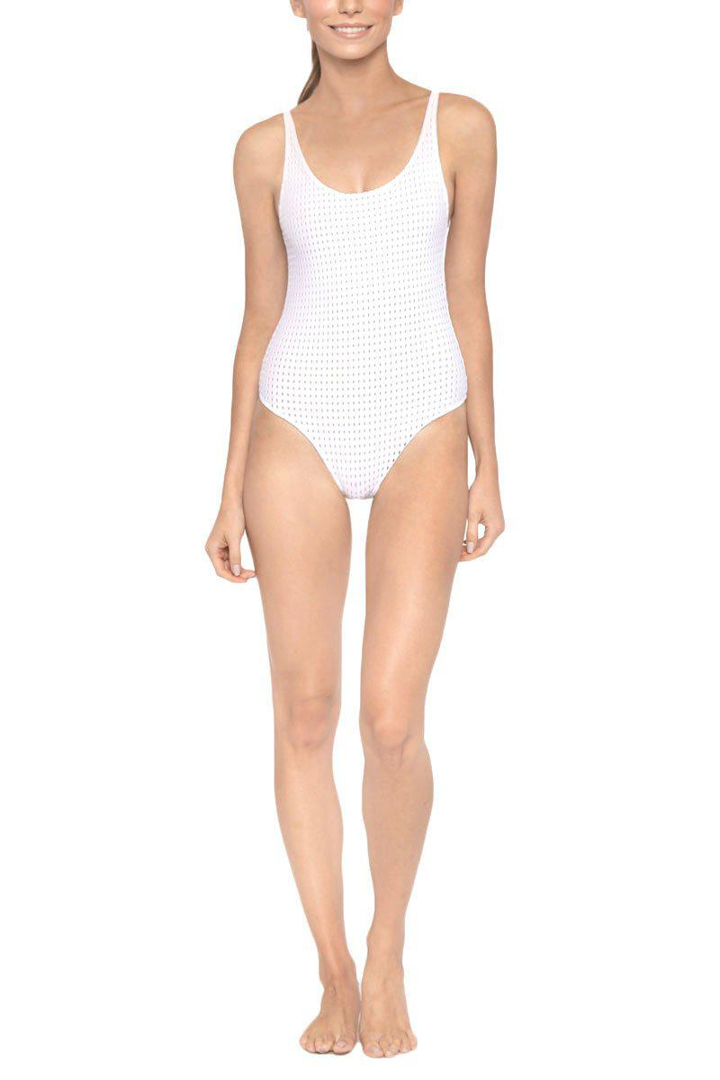 a56f81a5a8d8a Les Coquines. Women s White Kaila Scoop Neck Open Back One Piece Swimsuit  ...