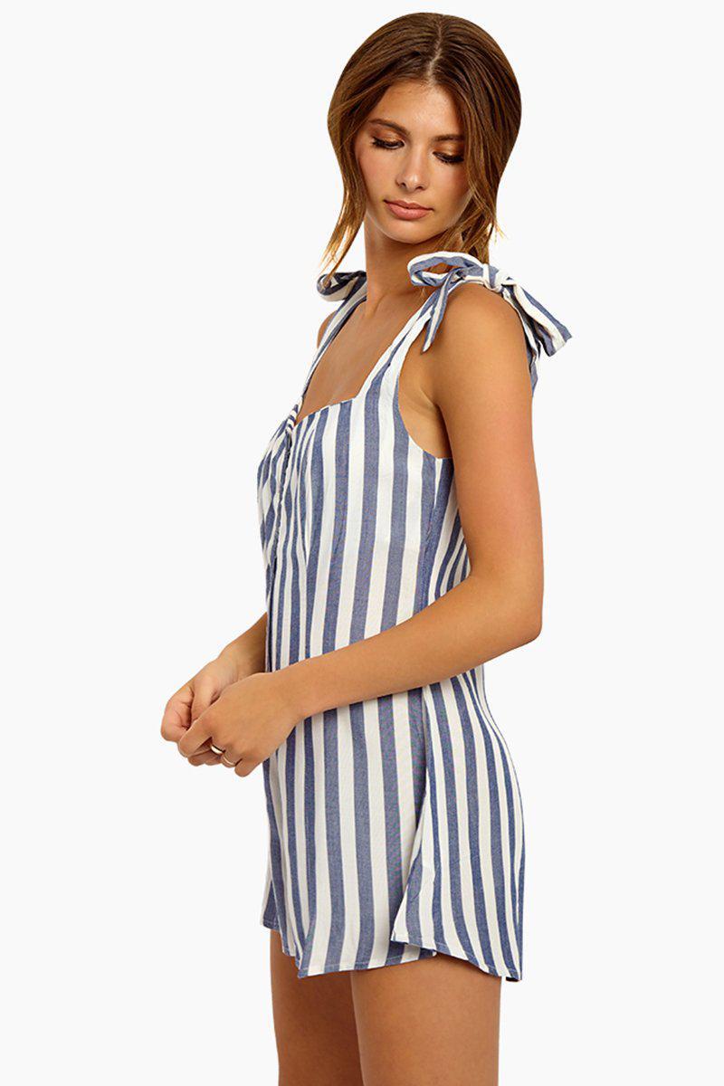 1dba99c94c36 Lyst - Beach Riot Zoey Shoulder Tie Romper - Blue white Stripe in Blue