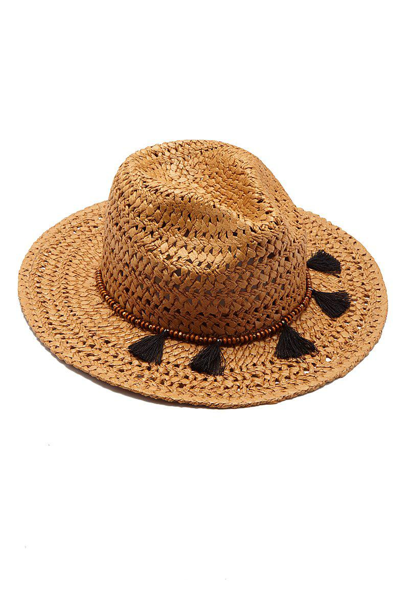 6ae101d8105 Hat Attack Straw Cane Rancher Hat With Tassels - Toast in Brown - Lyst