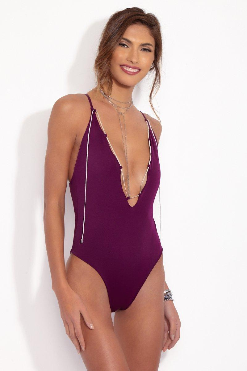 d4c56aae26c Lyst - dbrie The Dita Lace Up One Piece Swimsuit - Amethyst Purple ...