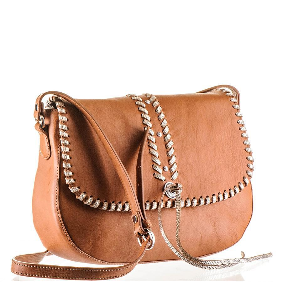 Embellished Tan Calf Leather Messenger Bag CWGW1ZO