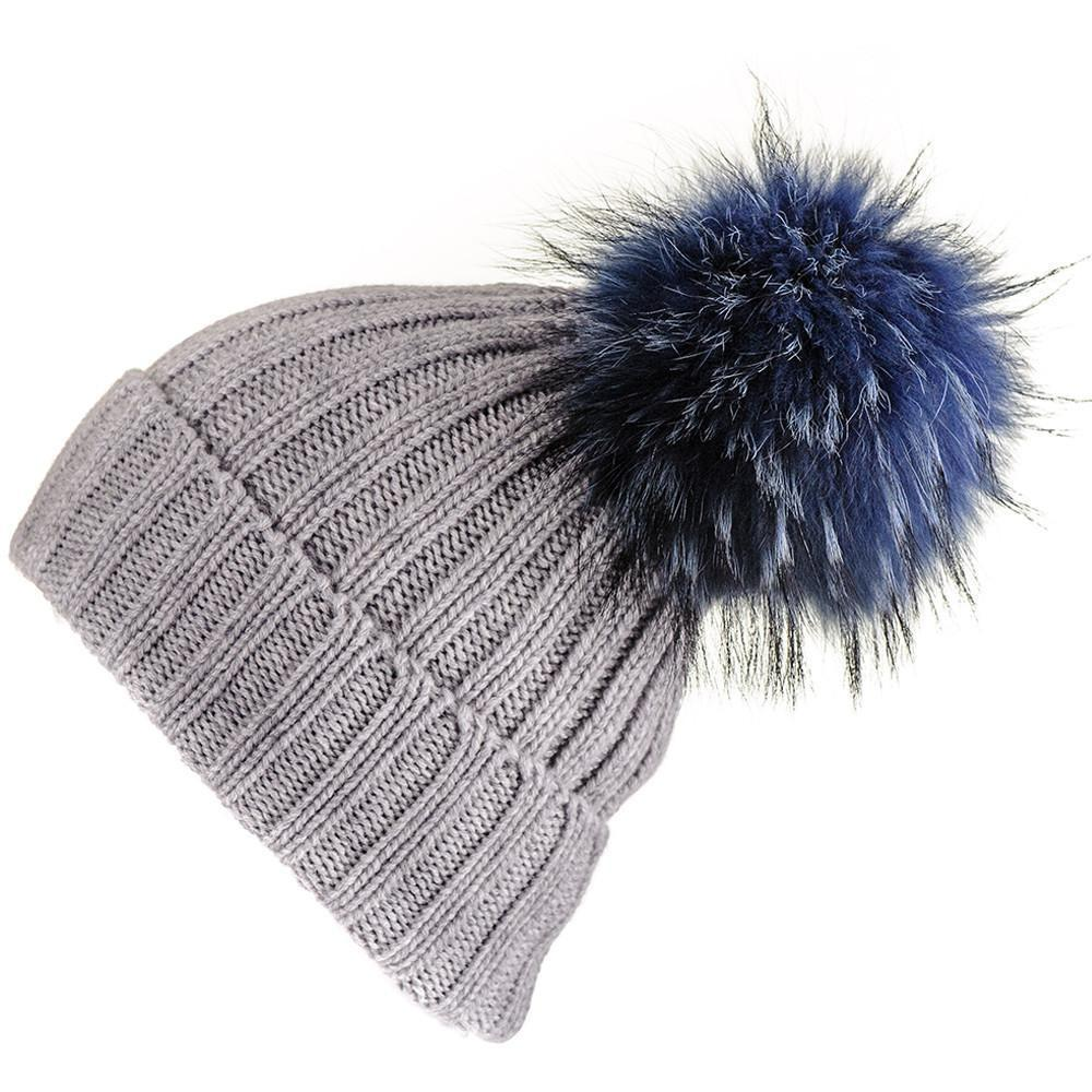 3480083b0ce48 Lyst - Black.co.uk Grey Cashmere Beanie With Navy Fur Pom Pom in Gray