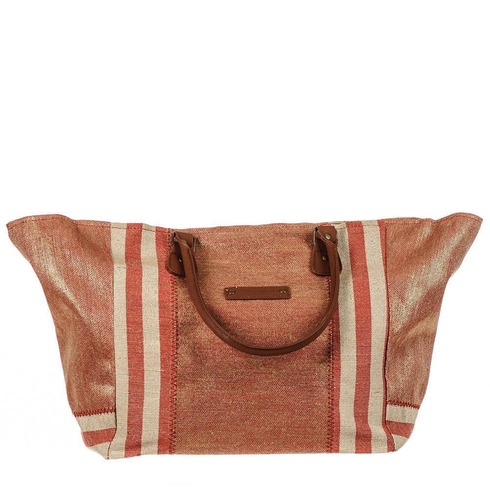 Paros Red and Gold Hessian Beach Tote Bag AoaVYx