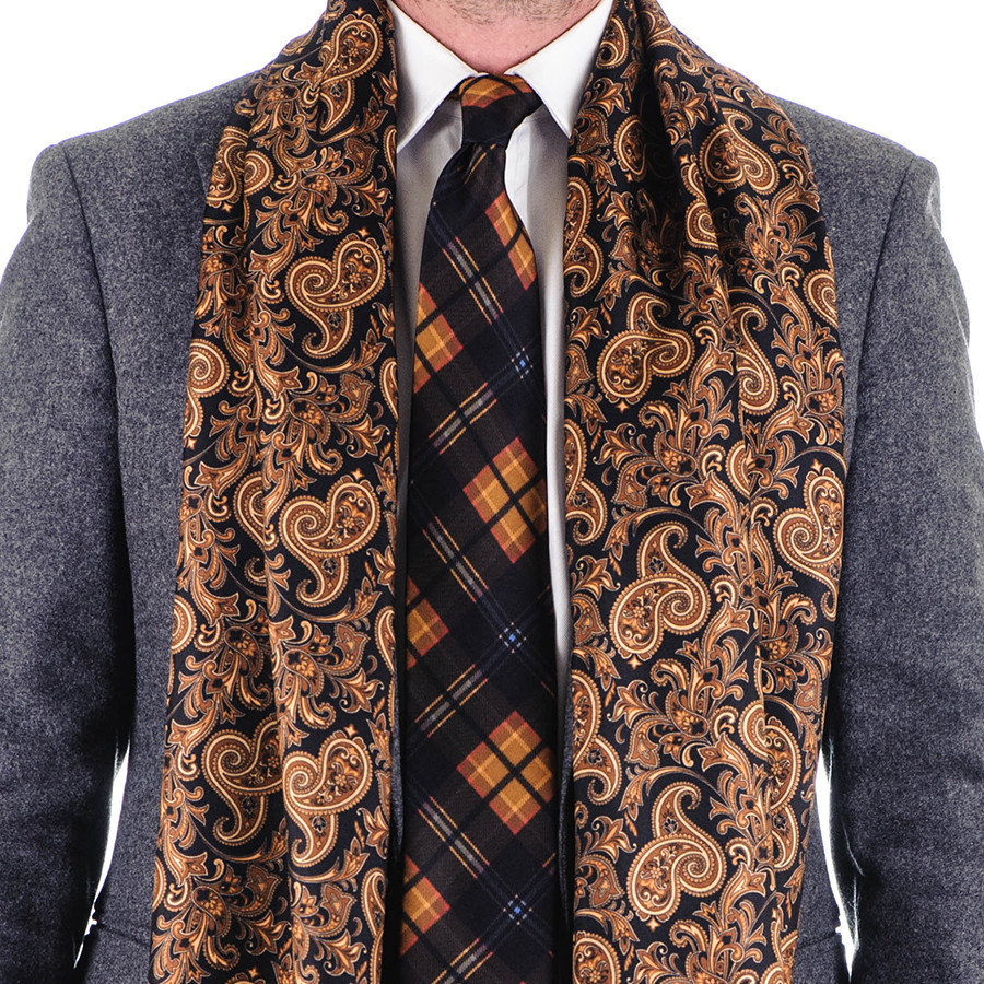 Black.co.uk Belluno Black And Gold Paisley Silk Scarf in ...