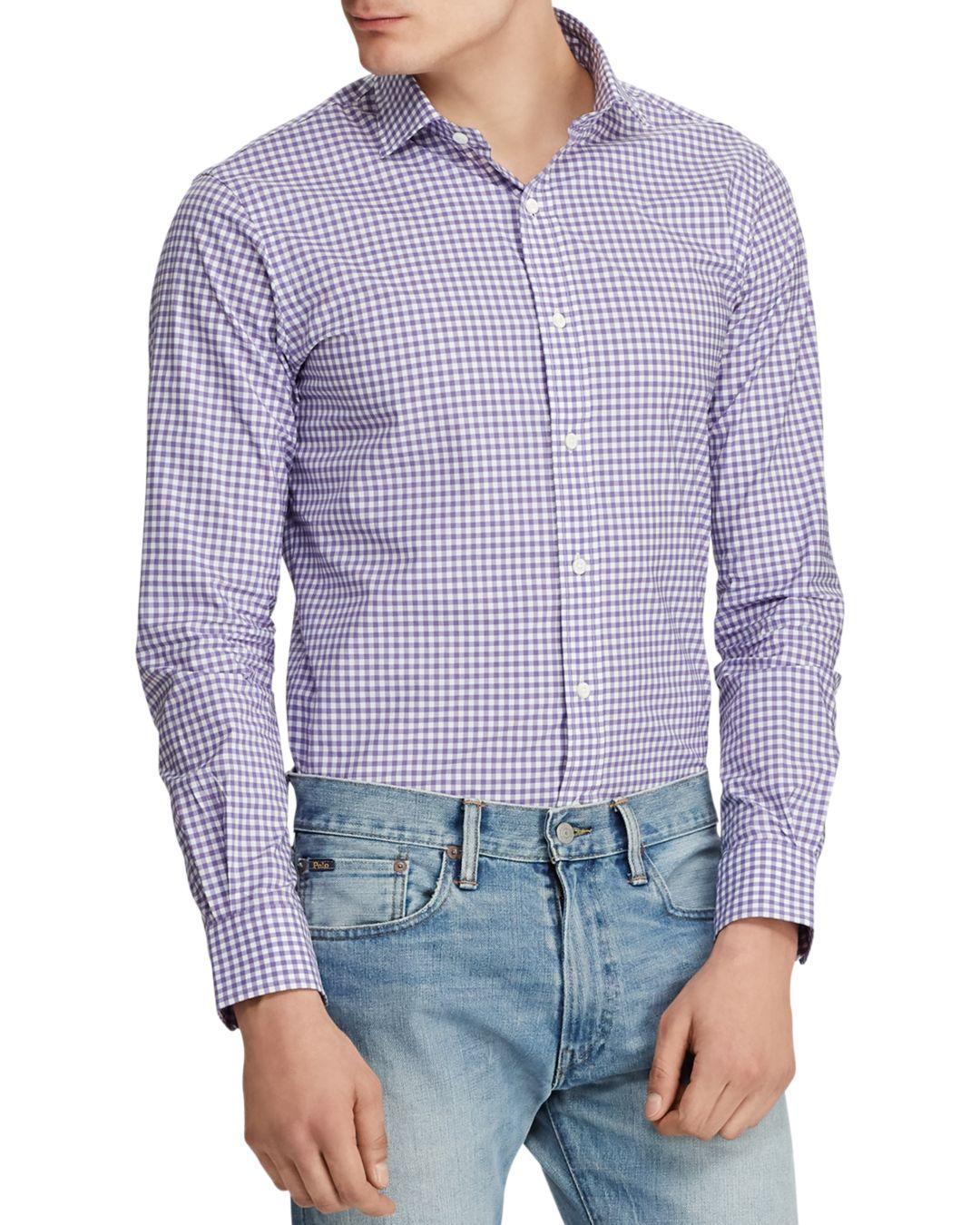c4d22ae28f Lyst - Polo Ralph Lauren Classic Fit Poplin Shirt in Purple for Men