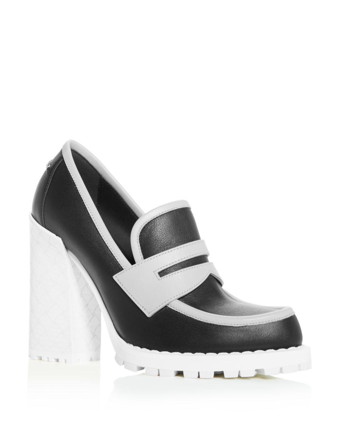 cccff32cecc Bottega Veneta Women s High Block-heel Loafers - Lyst