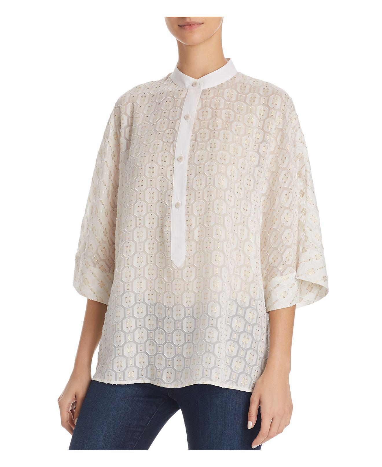 Cream top Tory Burch Clearance Prices Best Prices Cheap Price Multi Coloured Free Shipping Cheap Quality Looking For For Sale F0TWPpDfC