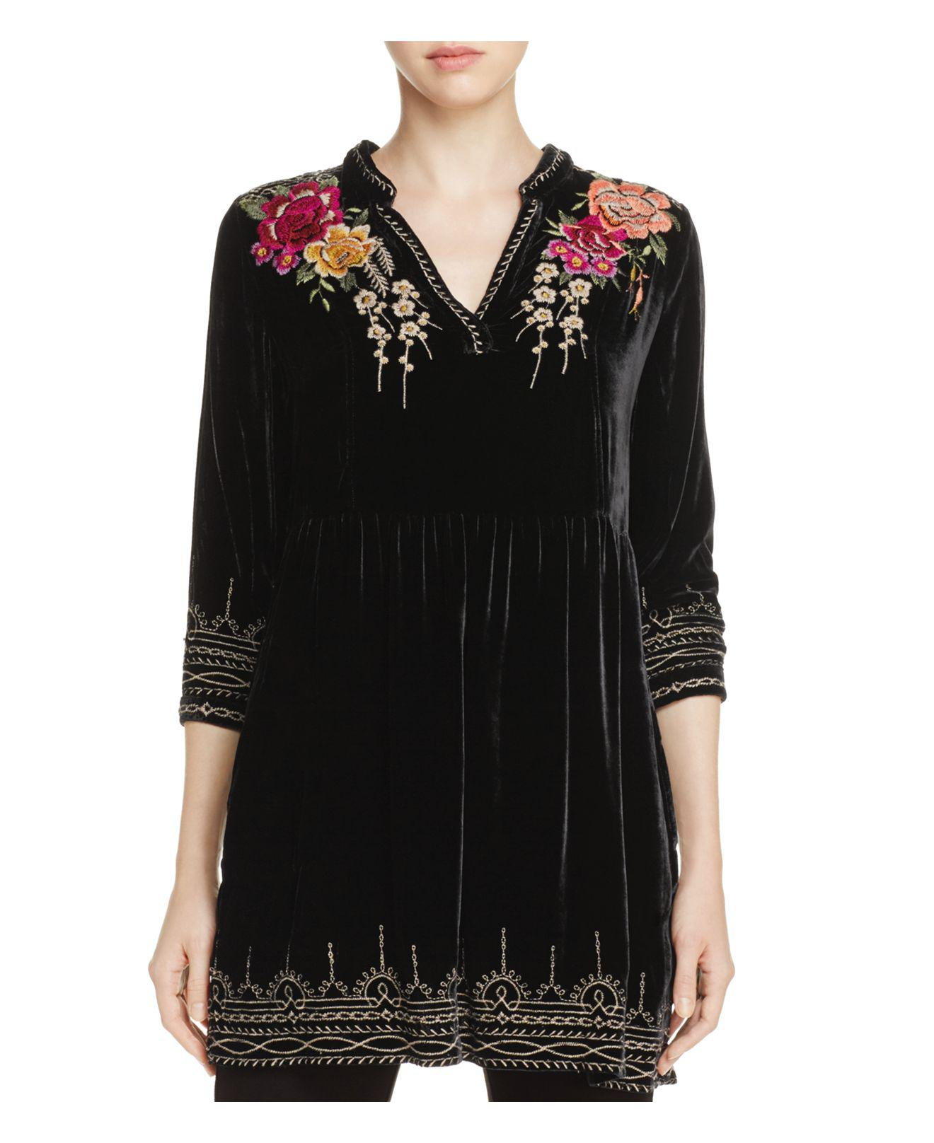 Lyst - Johnny Was Embroidered Floral Velvet Tunic Top in Black
