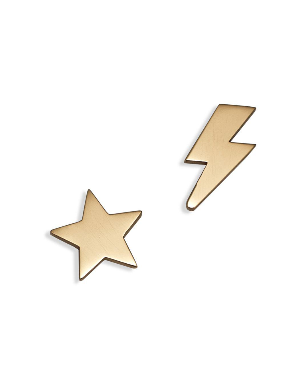 63a73a61f Zoe Chicco - Metallic 14k Yellow Gold Mixed Star & Lightning Bolt Stud  Earrings - Lyst. View fullscreen