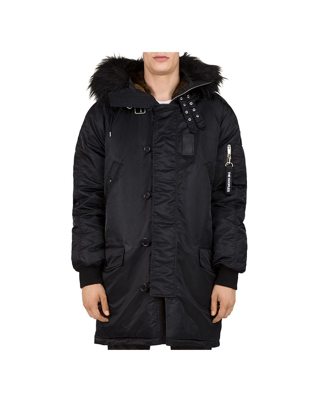 3e25fdd80065 Lyst - The Kooples Oversized Contrast-fabric Parka Jacket in Black for Men