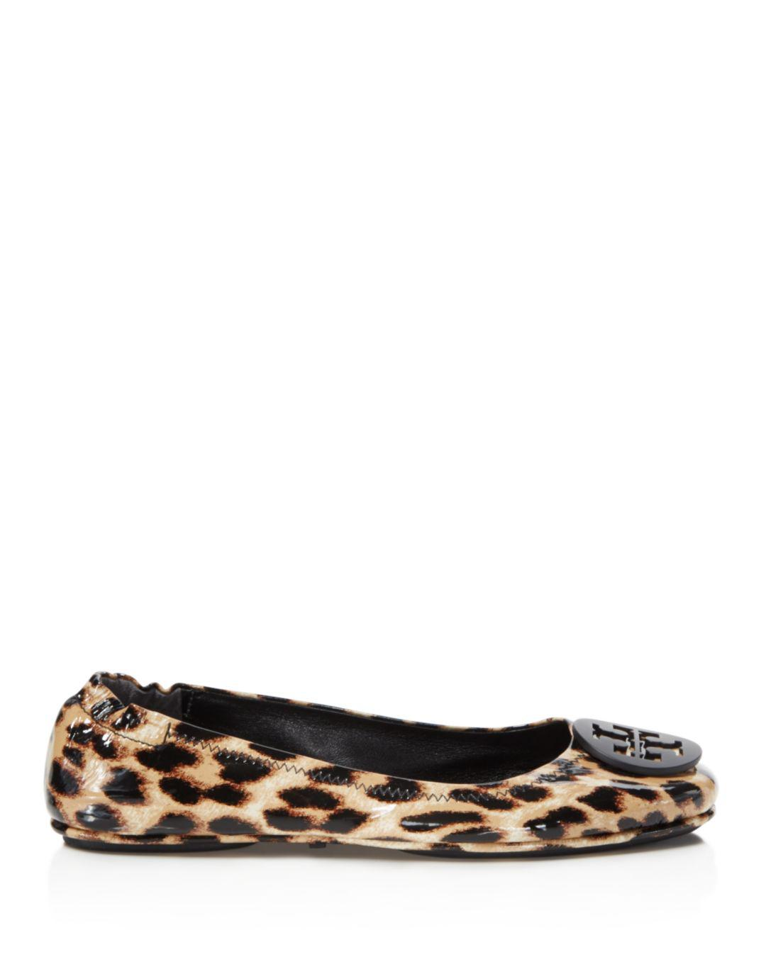1fda11bd655 Lyst - Tory Burch Minnie Leopard Print Patent Leather Travel Ballet Flat