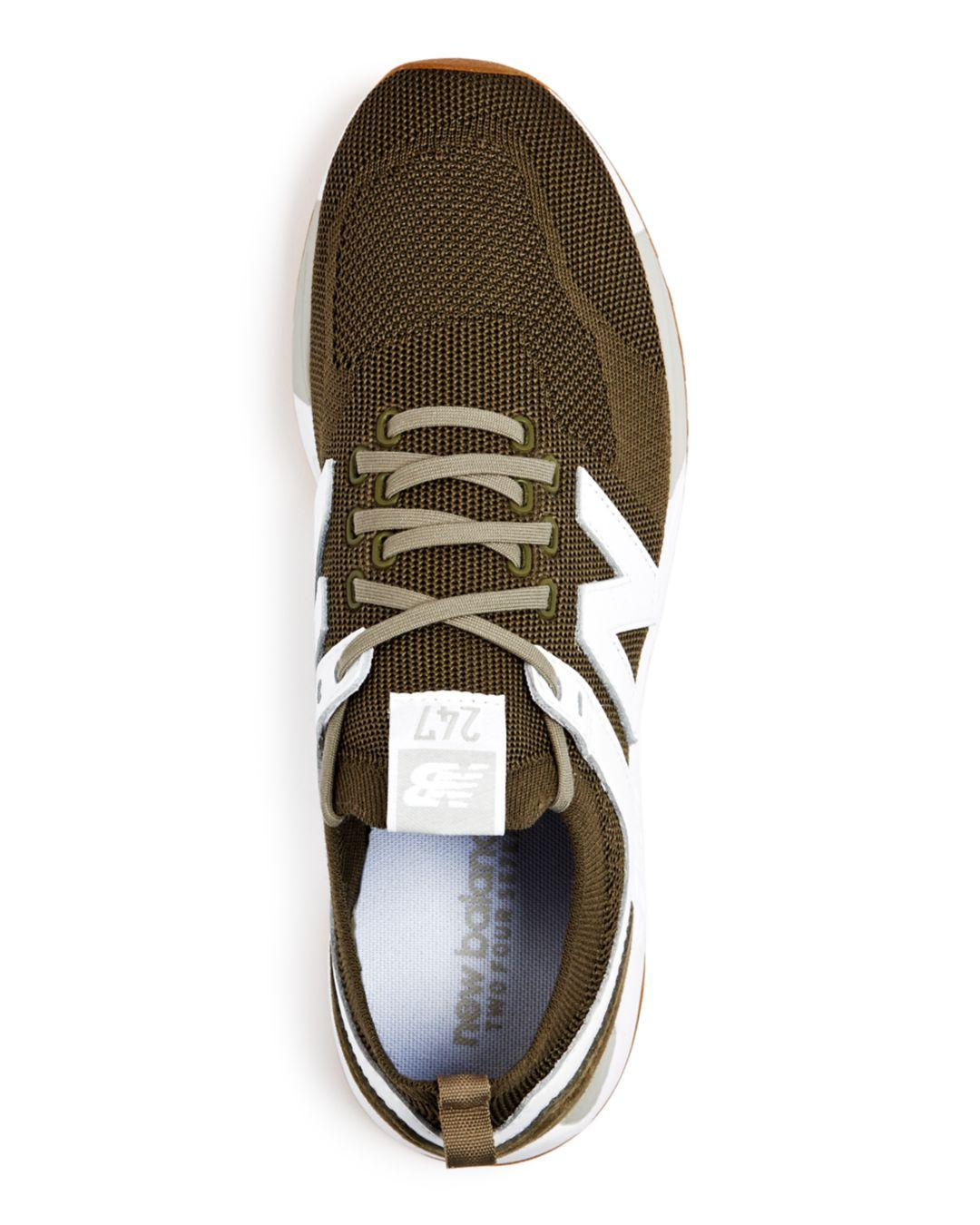 d2538951c4fb8 Lyst - New Balance Men's 247 Knit Lace Up Sneakers in Green for Men