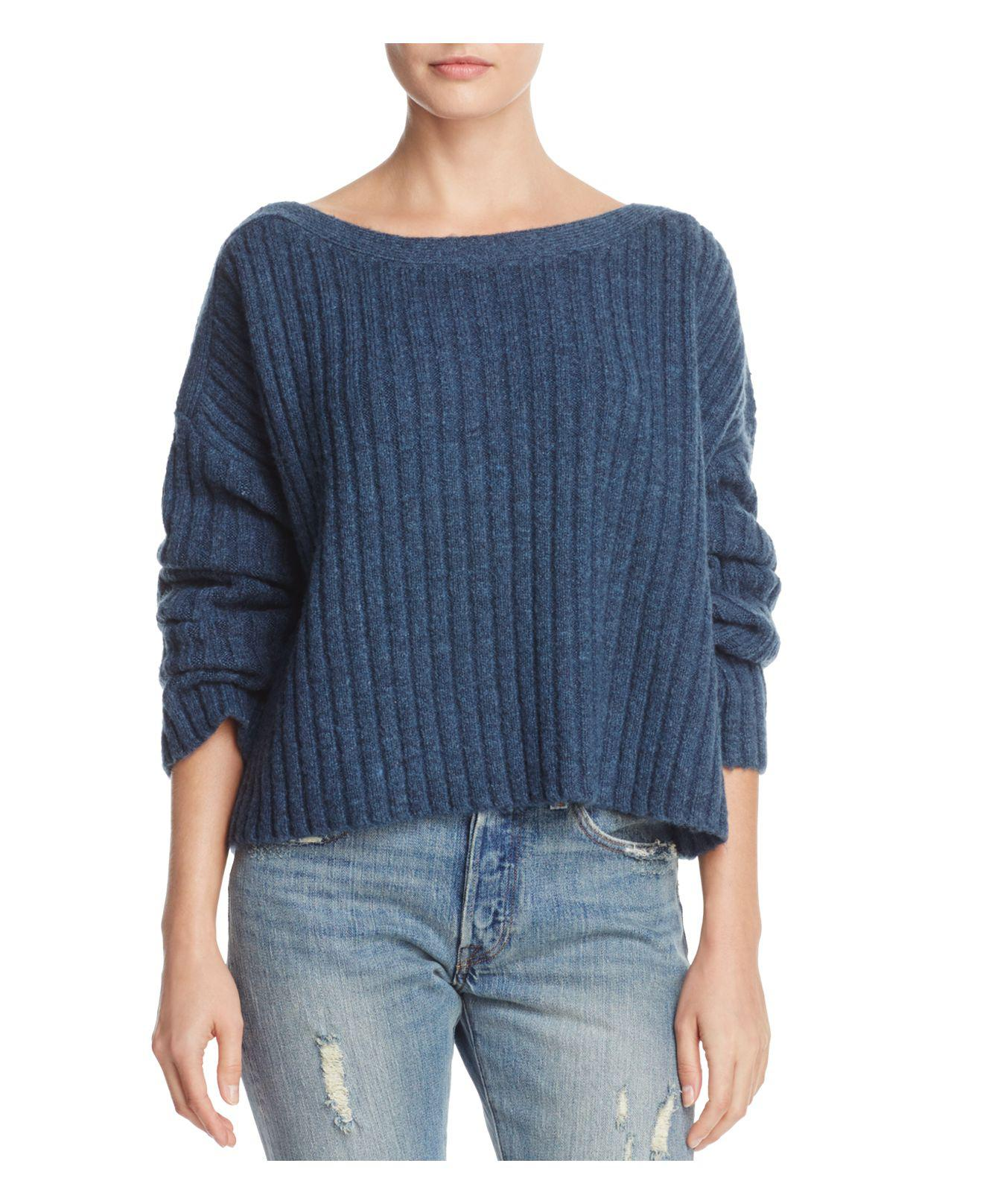 French connection Riva Chunky Ribbed Sweater in Blue | Lyst