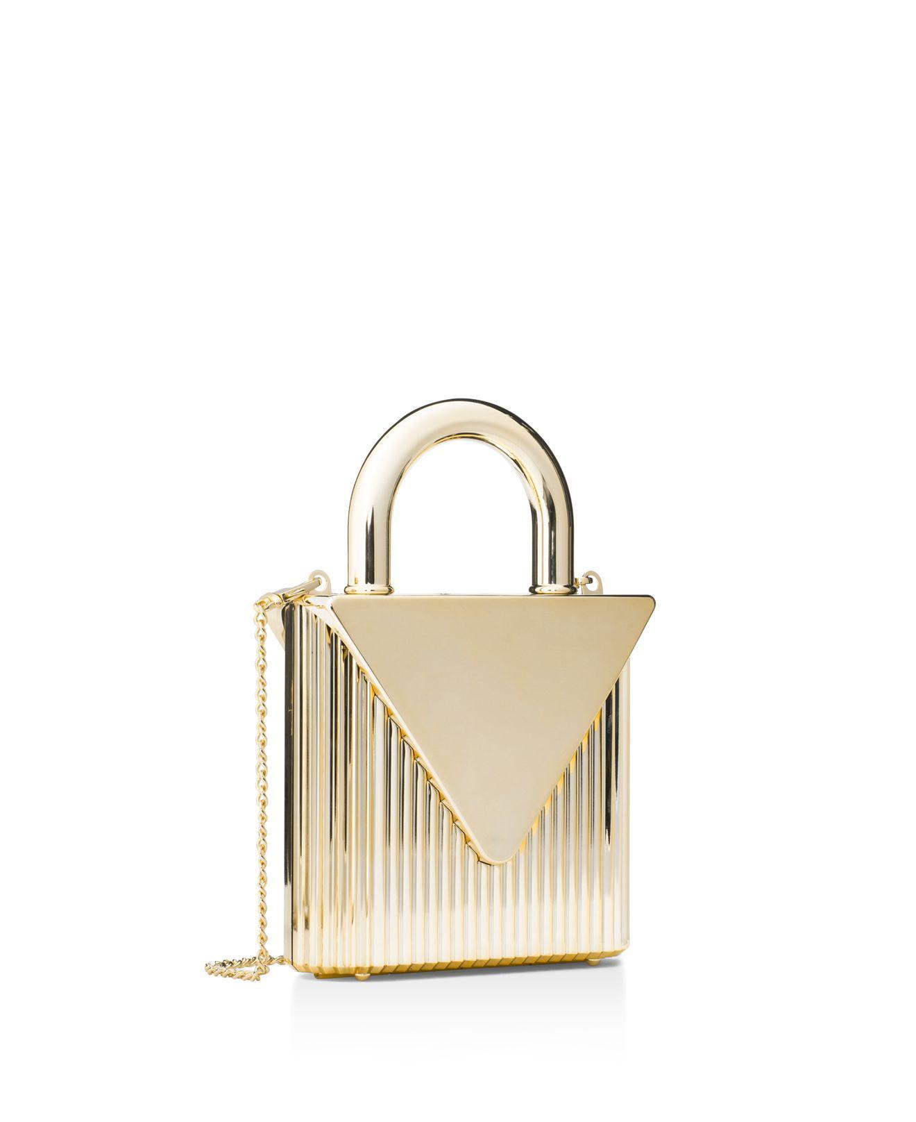 00f823ae9802 Michael Kors Mercer Oversized Locked Clutch in Metallic - Lyst