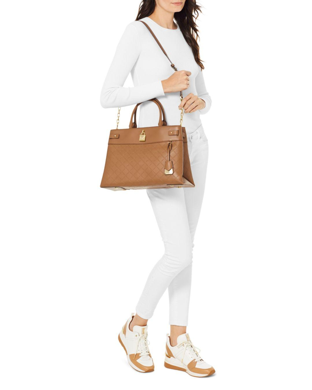 acfd30f39d8f2 Lyst - MICHAEL Michael Kors Large Gramercy Leather Satchel