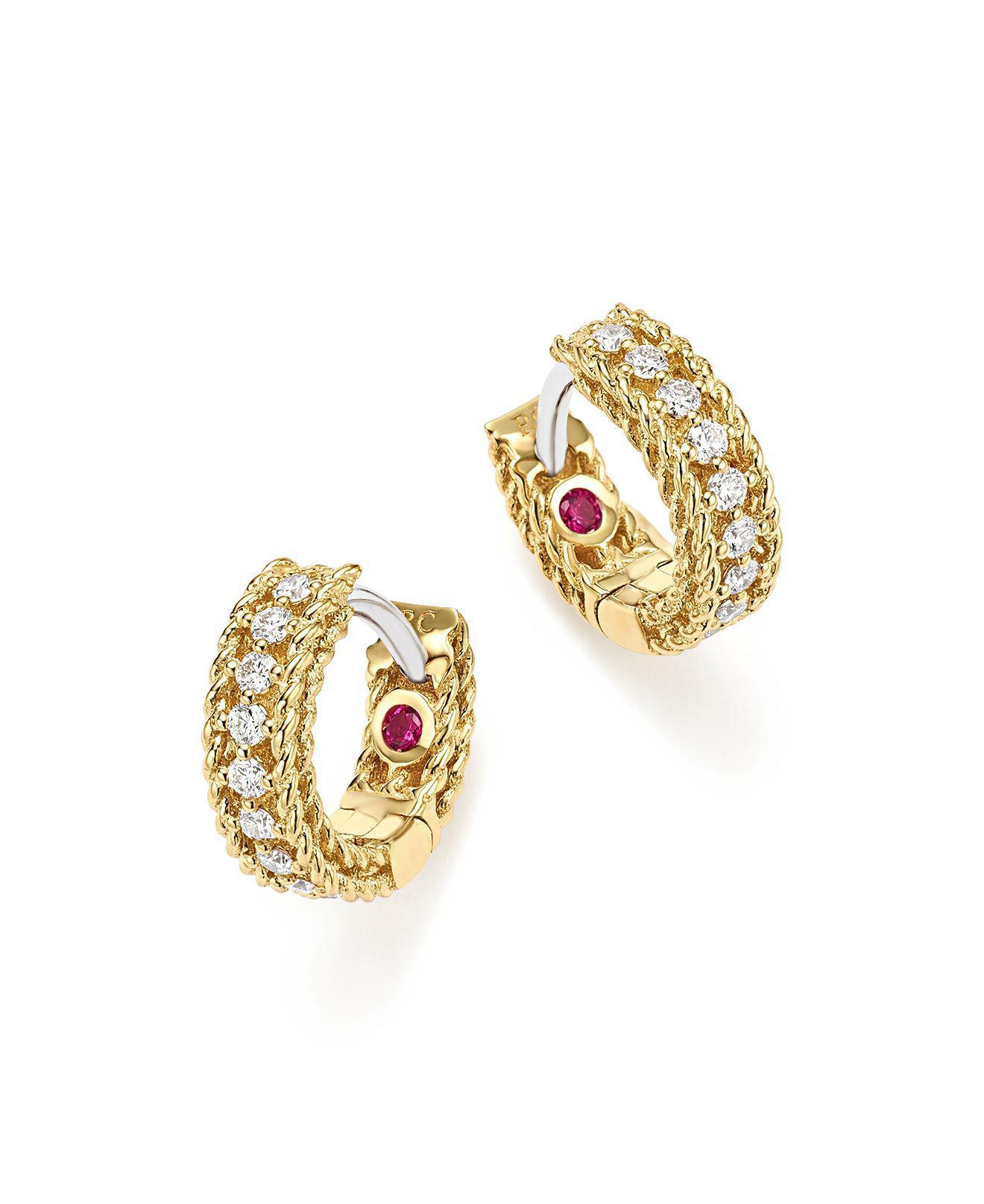 Roberto Coin Princess 18K Yellow Gold Diamond Bar Earrings pZCQmN