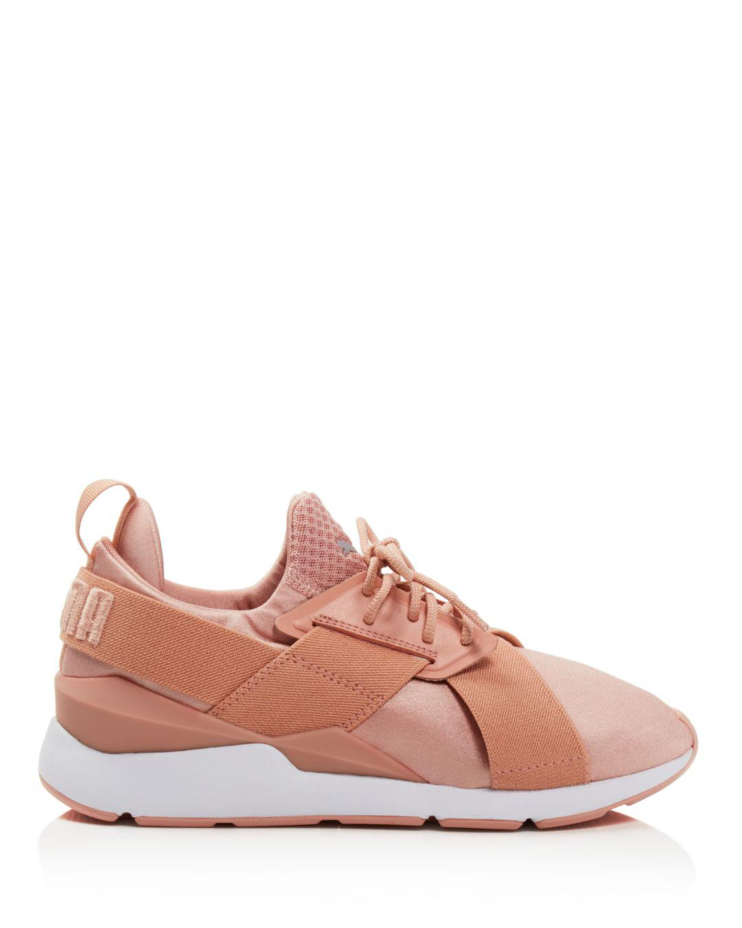 db4568da2e92 ... new zealand huge discount a20a2 68b9b lyst puma womens muse satin lace  up sneakers in pink