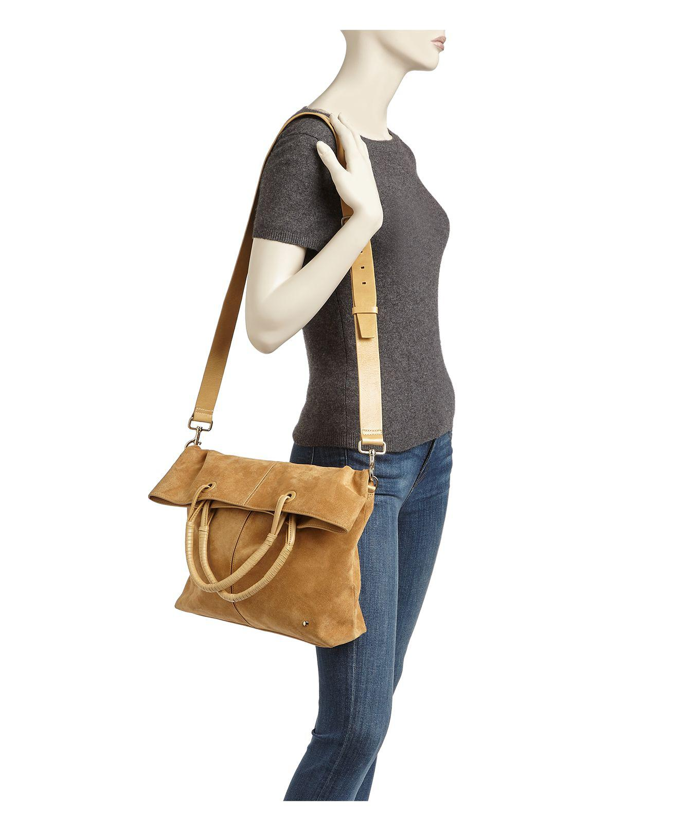 Lyst - Halston Ali Fold Over Large Suede Tote ef4ad2ac1e6d5