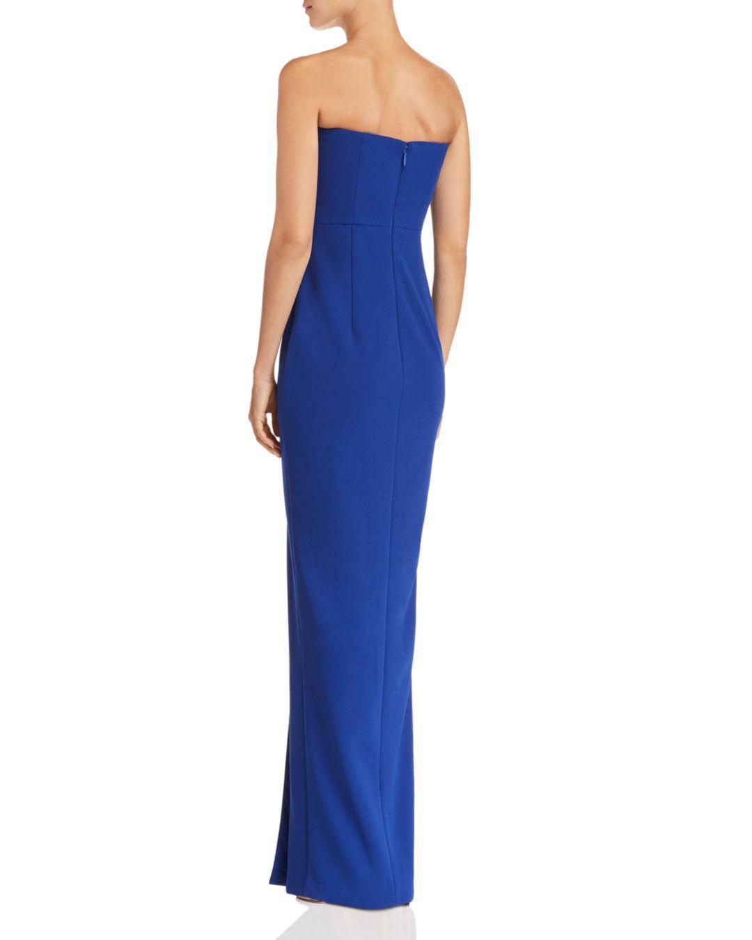 e765da71b9c0 Lyst - Bariano Strapless Column Gown in Blue