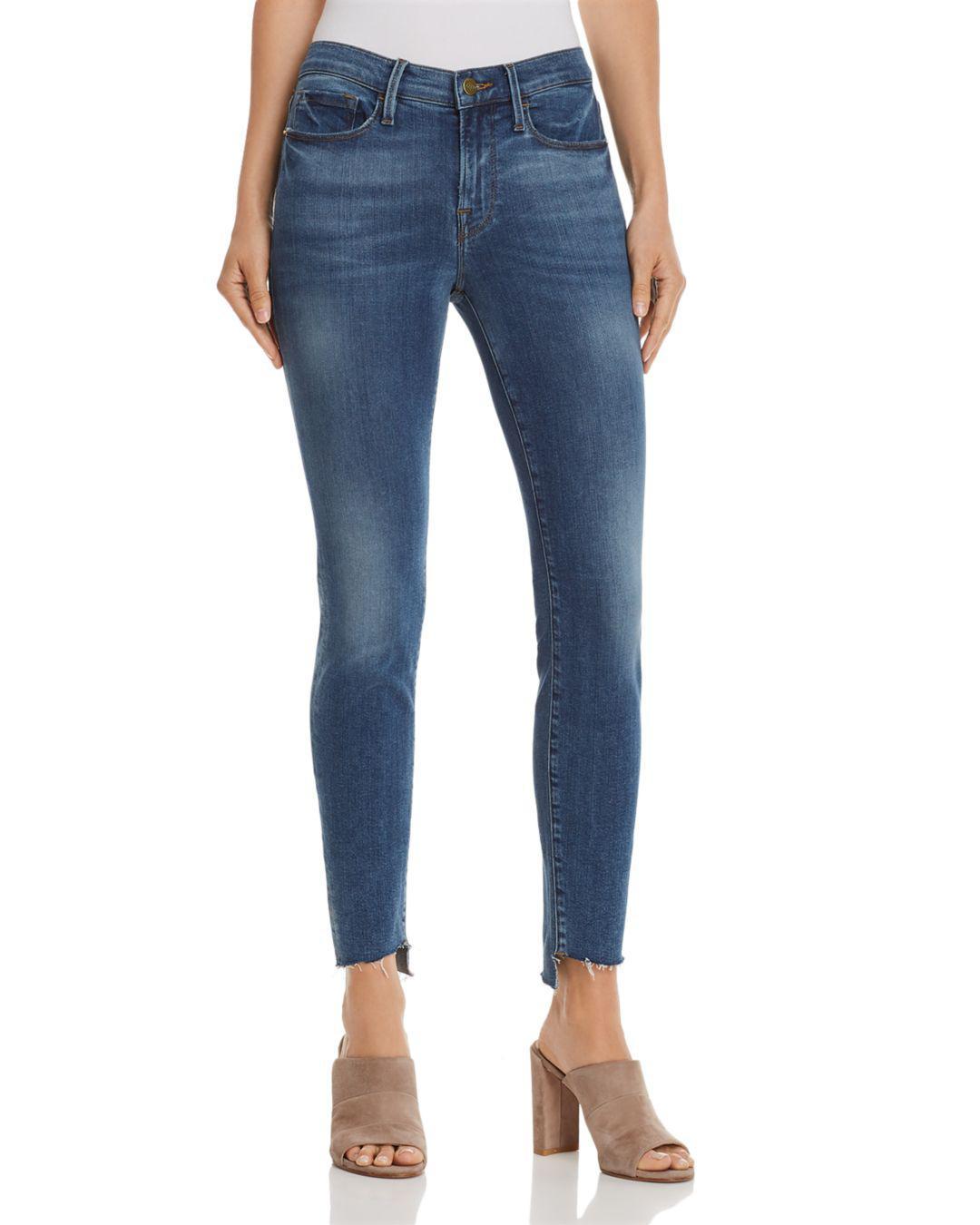 a8e279a8557a2 Lyst - FRAME Le Skinny De Jeanne Reverse Cascade Step-hem Jeans In ...