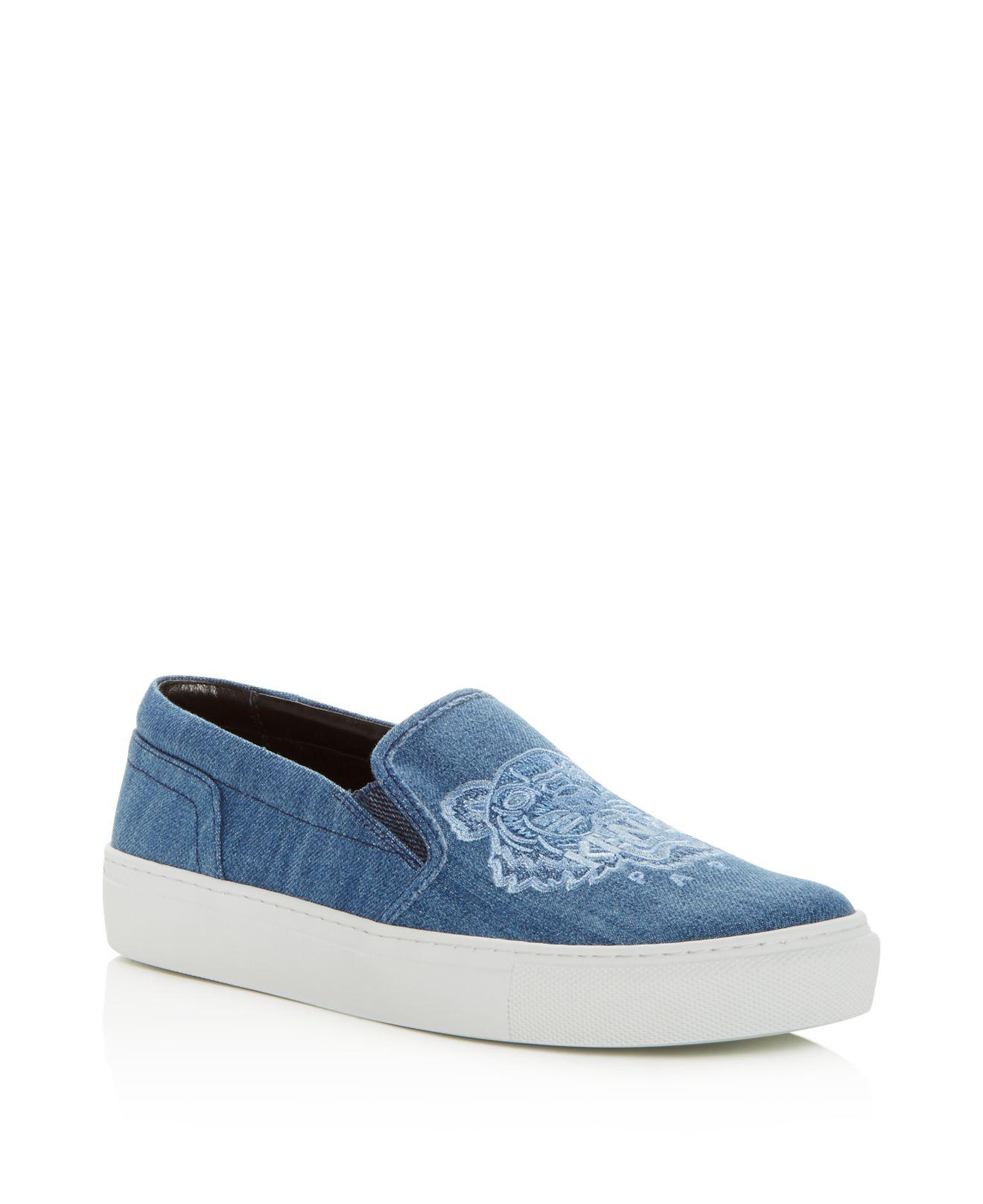 Kenzo Women's Special Tiger Embroidered Denim Slip-On Sneakers ohhEtc55