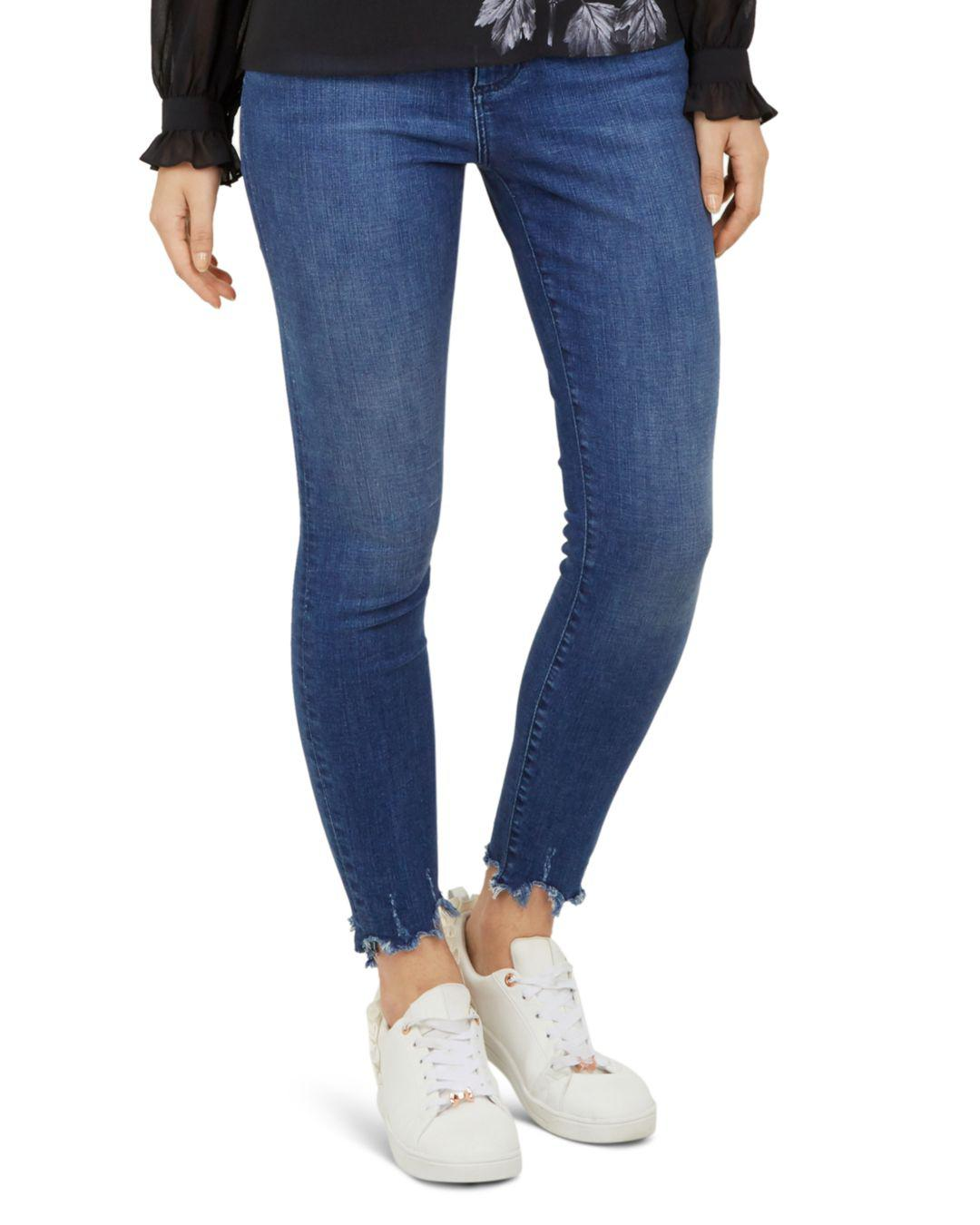 30af546f6db063 Lyst - Ted Baker Catrina Distressed-hem Skinny Jeans In Mid Blue in Blue