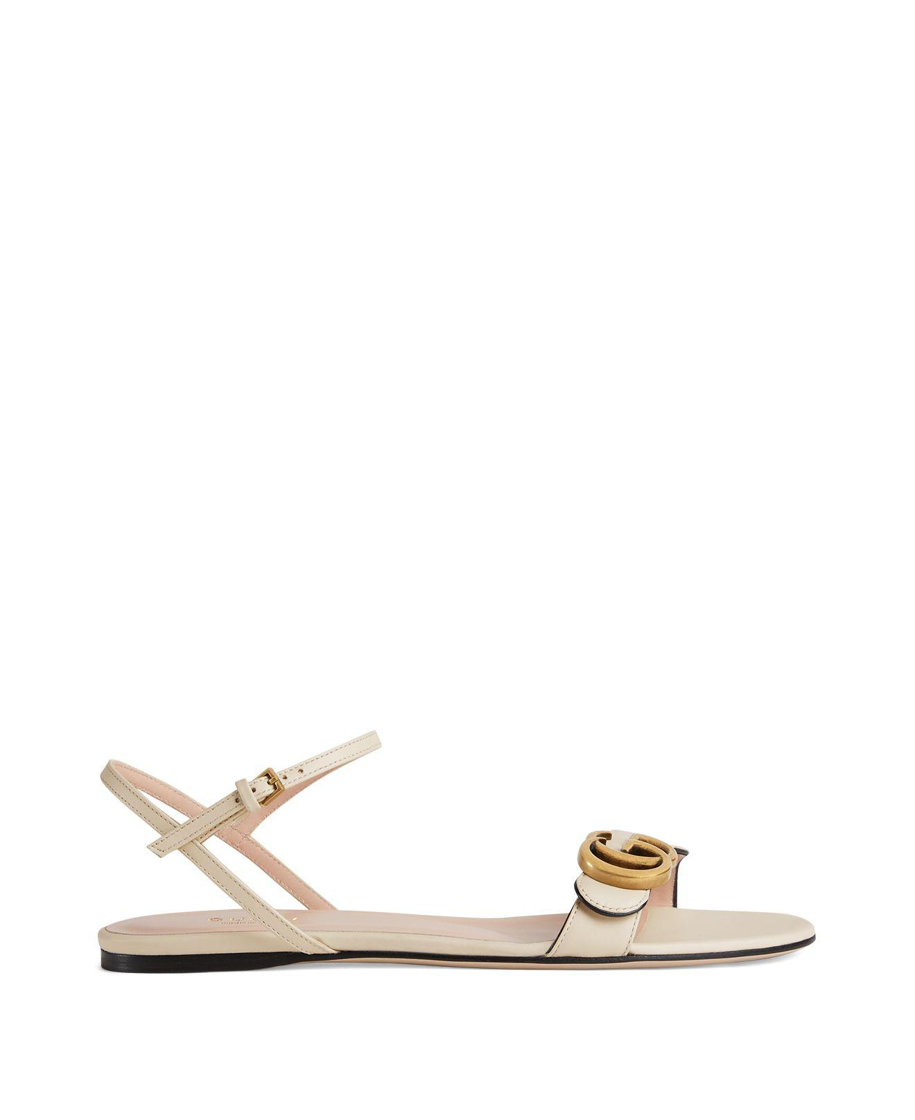 49a5fcf7f4b7 Lyst - Gucci Women s Marmont Leather Double G Sandals in White