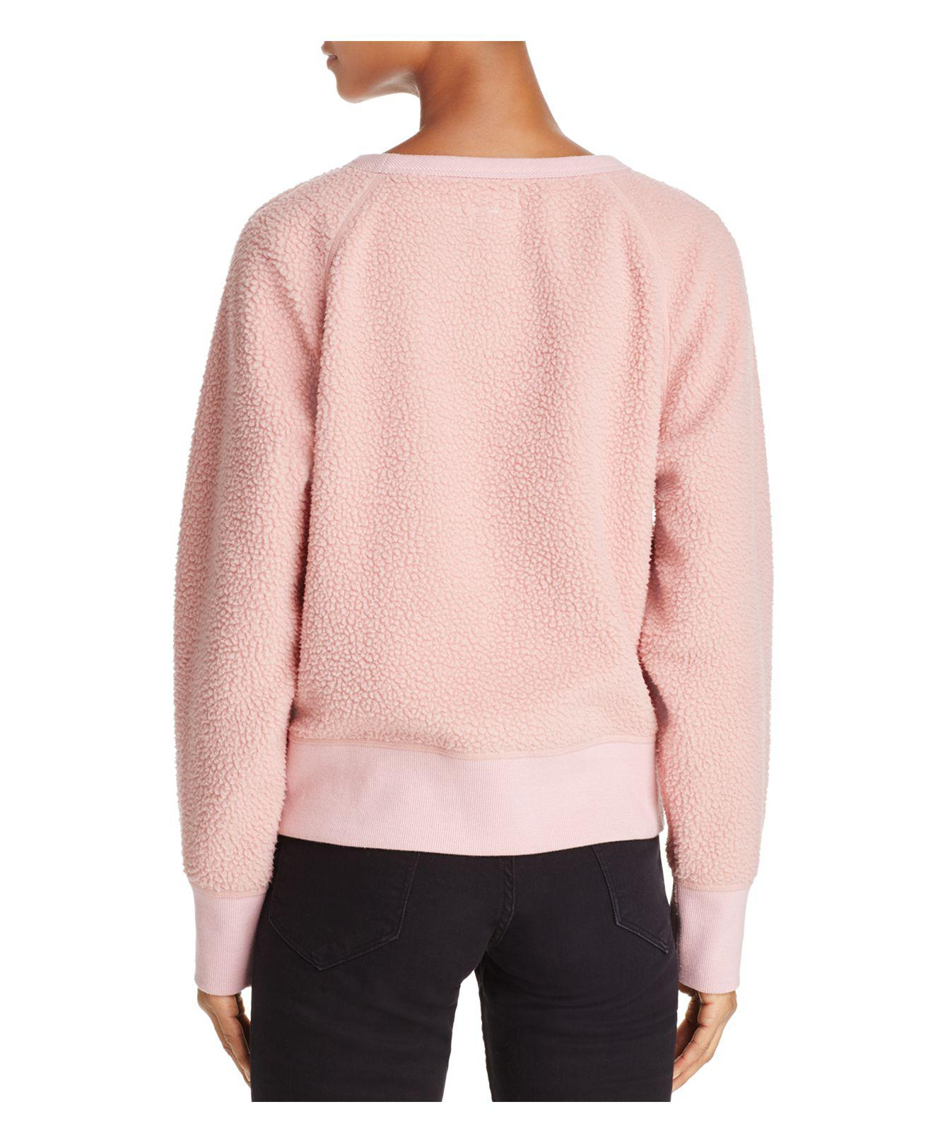Rag & bone Sherpa Fleece Sweatshirt in Pink | Lyst