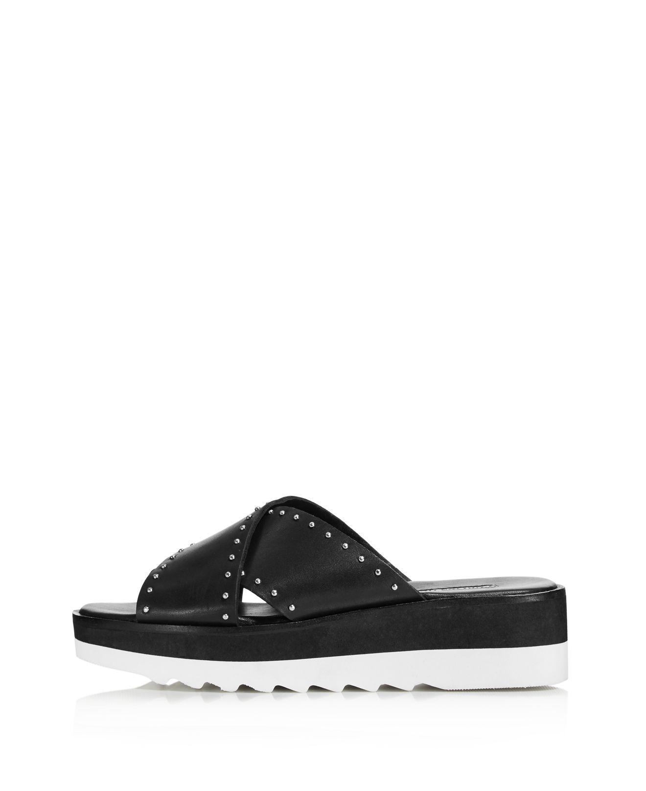 Charles David Women's Buxom Studded Leather Platform Slide Sandals bH02EDqA
