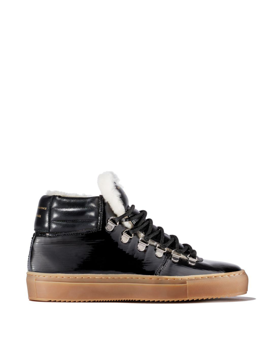 6b757b4f2f7 Zespà - Black Women s Leather   Shearling Lace Up Platform Sneaker - Lyst.  View fullscreen