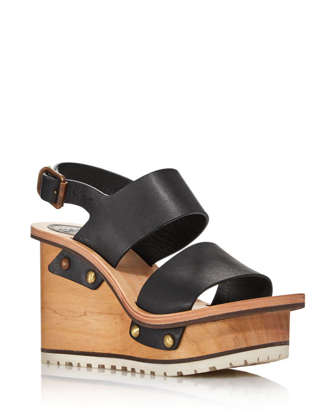 d4a4add56a54 Chloé - Black Women s Valentine Platform Wedge Sandals - Lyst. View  fullscreen