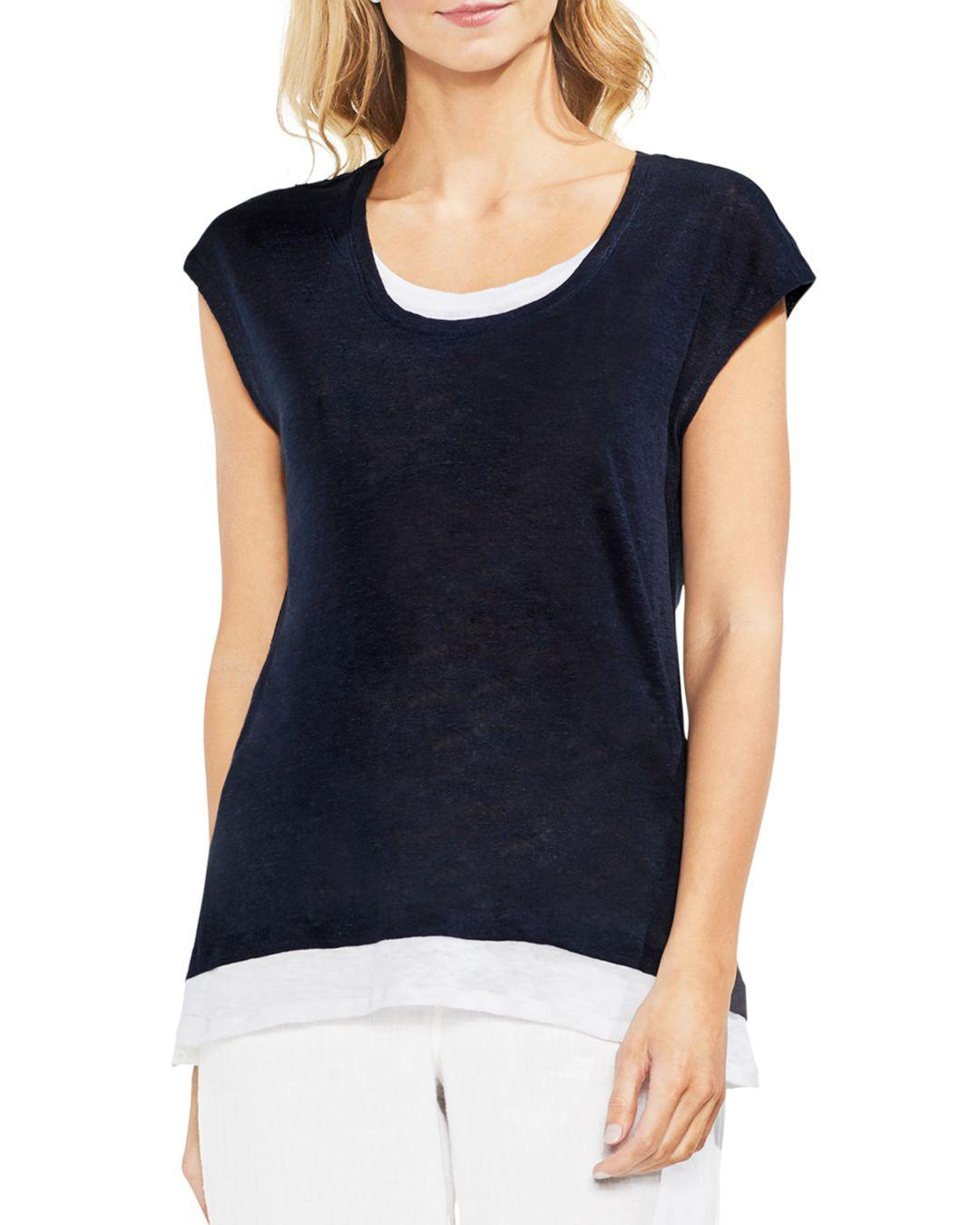 d7c726494c11c Vince Camuto Linen Layered-look Tee in Blue - Lyst