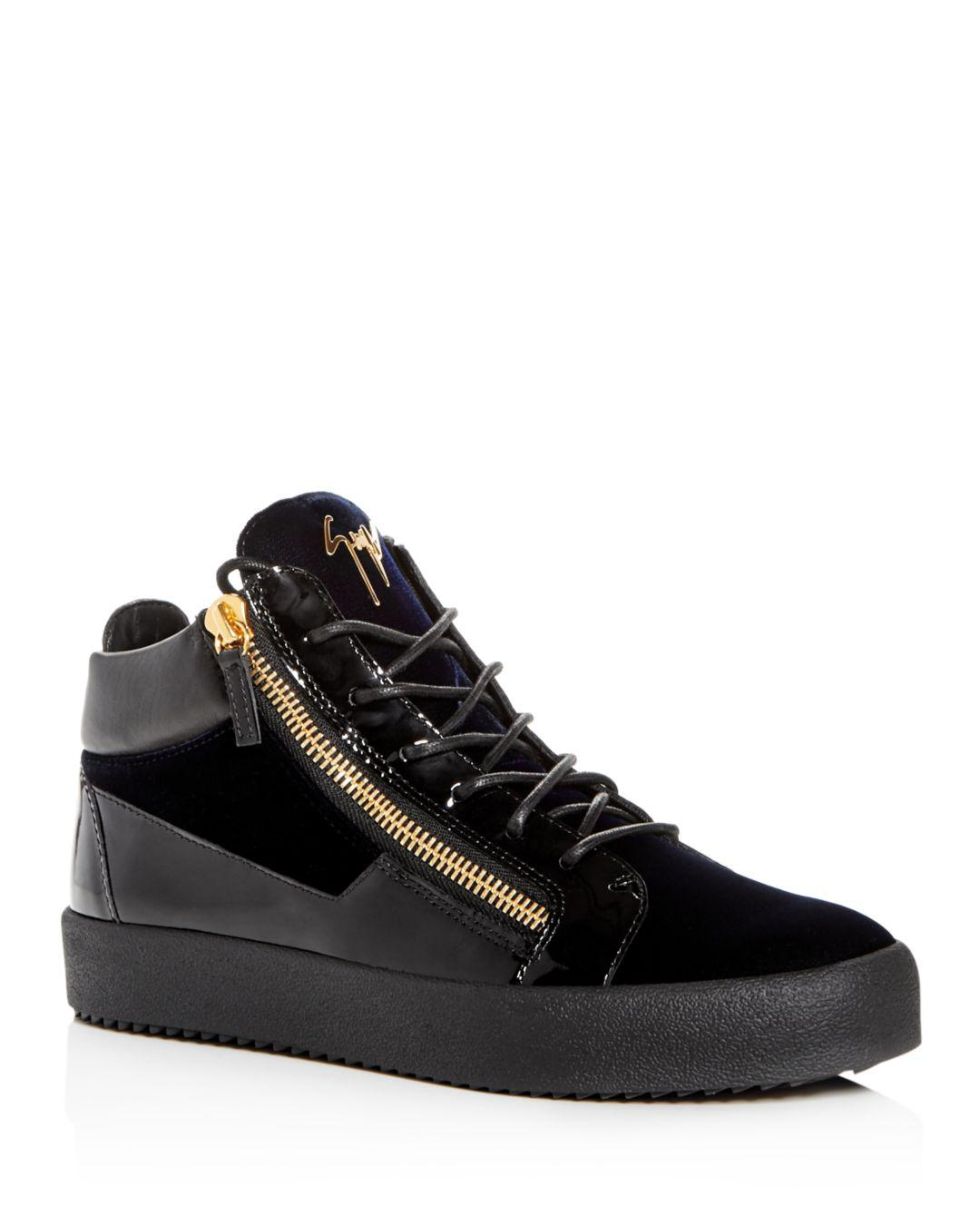 9a0b0bf44f383 Giuseppe Zanotti Men's Velvet & Patent Leather Mid Top Sneakers in ...