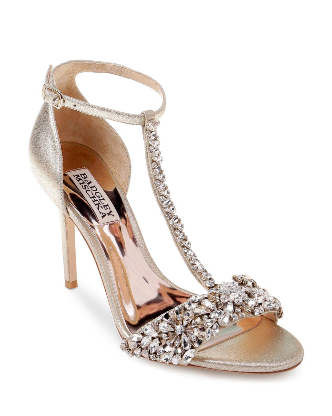 a4d7167d6710ad Lyst - Badgley Mischka Women s Veil Ii Open-toe T-strap Leather High-heel  Sandals
