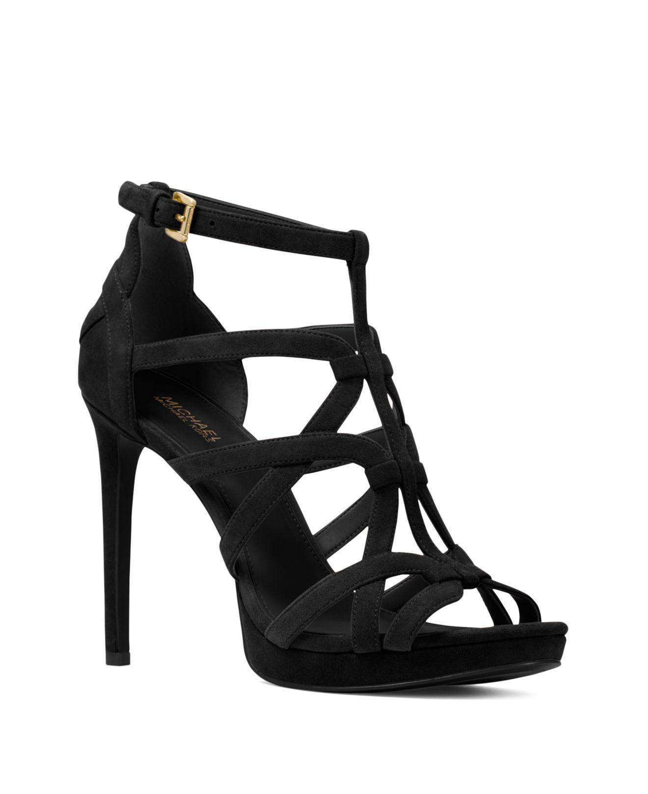Michael Kors Women's Sandra Strappy Leather Platform High-Heel Sandals 7gTjP7M3g