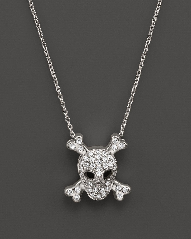 Lyst roberto coin 18k white gold diamond skull crossbones gallery aloadofball Gallery
