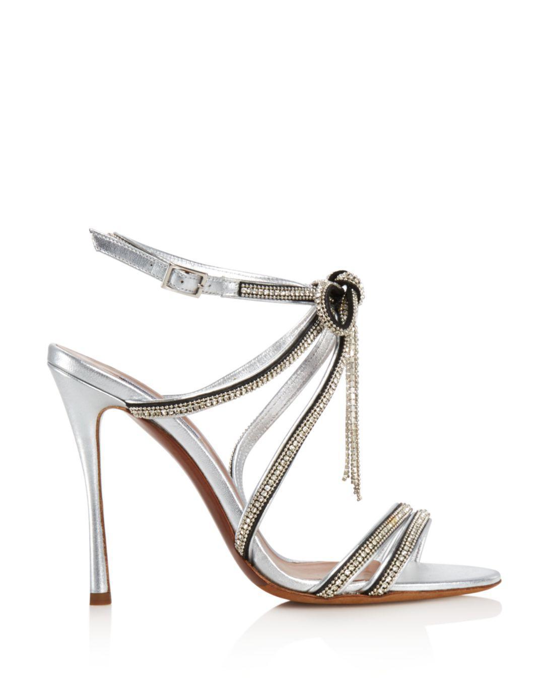 adae6f69d793 Lyst - Tabitha Simmons Women s Iceley Rhinestone Bow High-heel Sandals in  Metallic