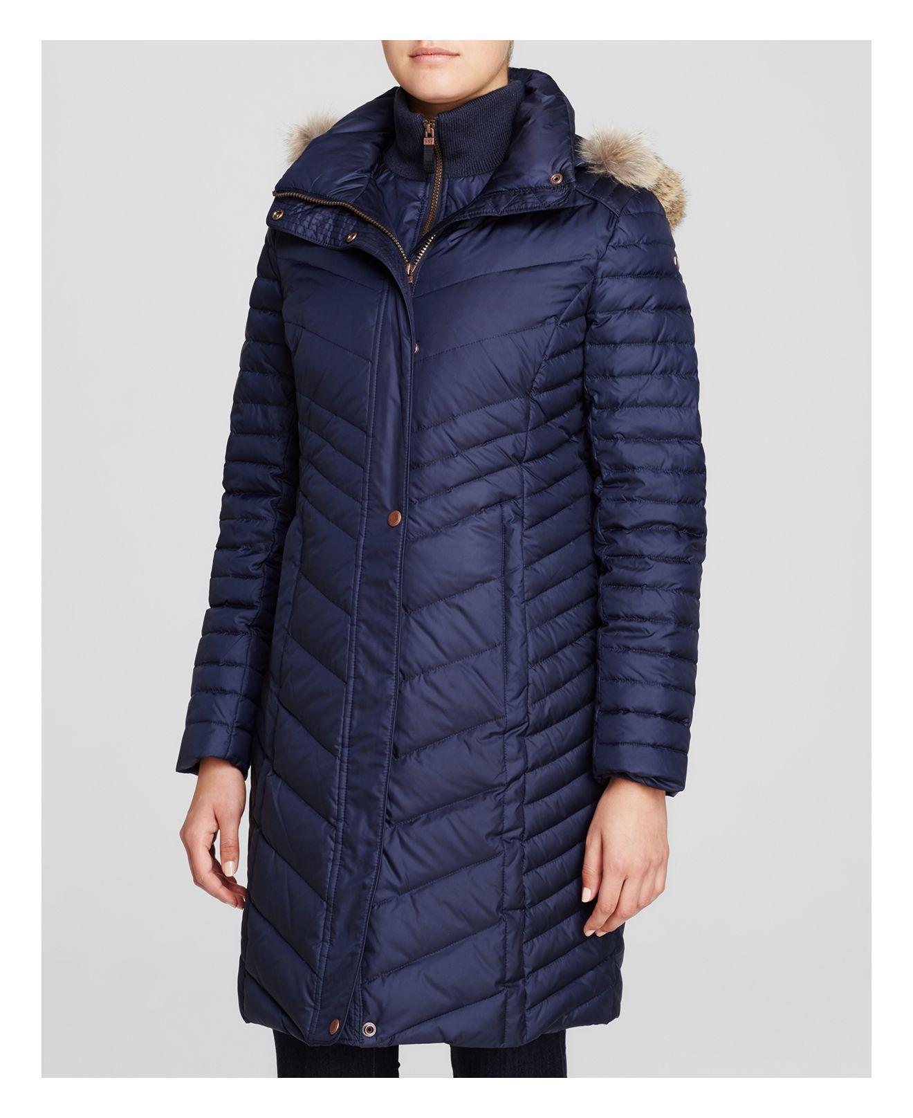 Marc New York Kendall Fur Trim Chevron Puffer Coat In Blue