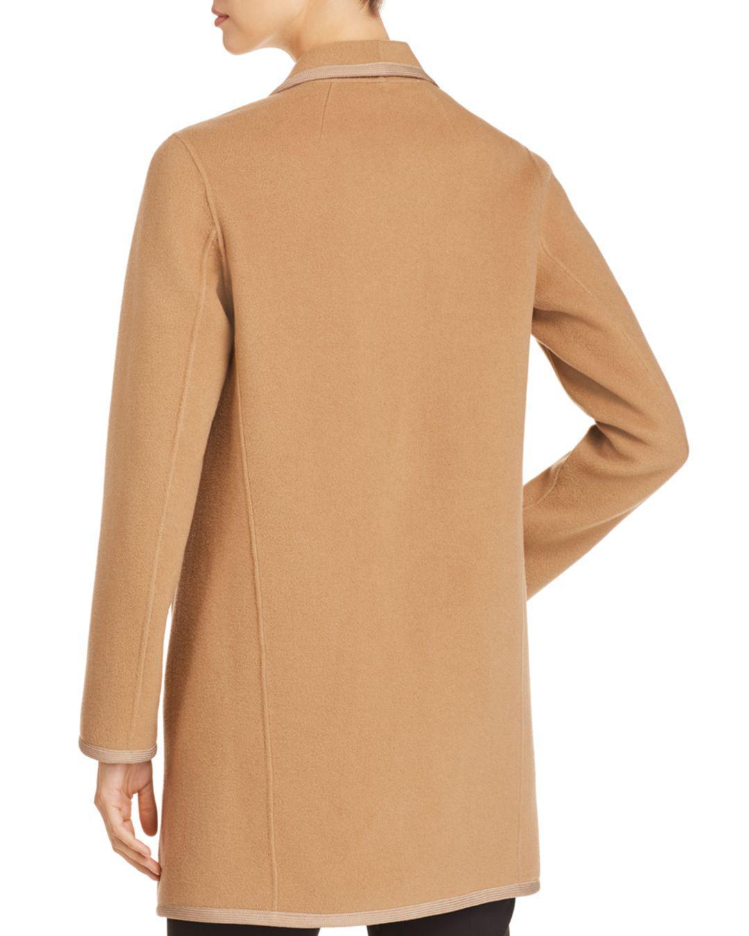 d44f92b13896 Elie Tahari Christina Contrast-trim Wool Coat in Natural - Lyst