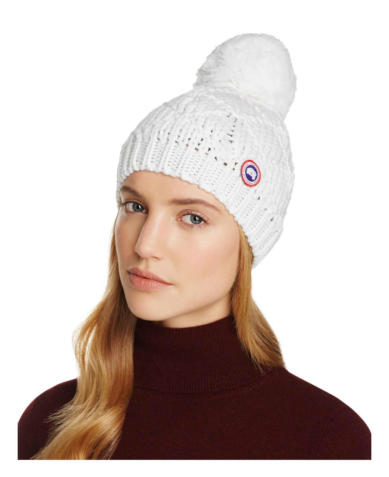 03167682fad Lyst - Canada Goose Merino Wool Beanie With Oversized Pom-pom in White