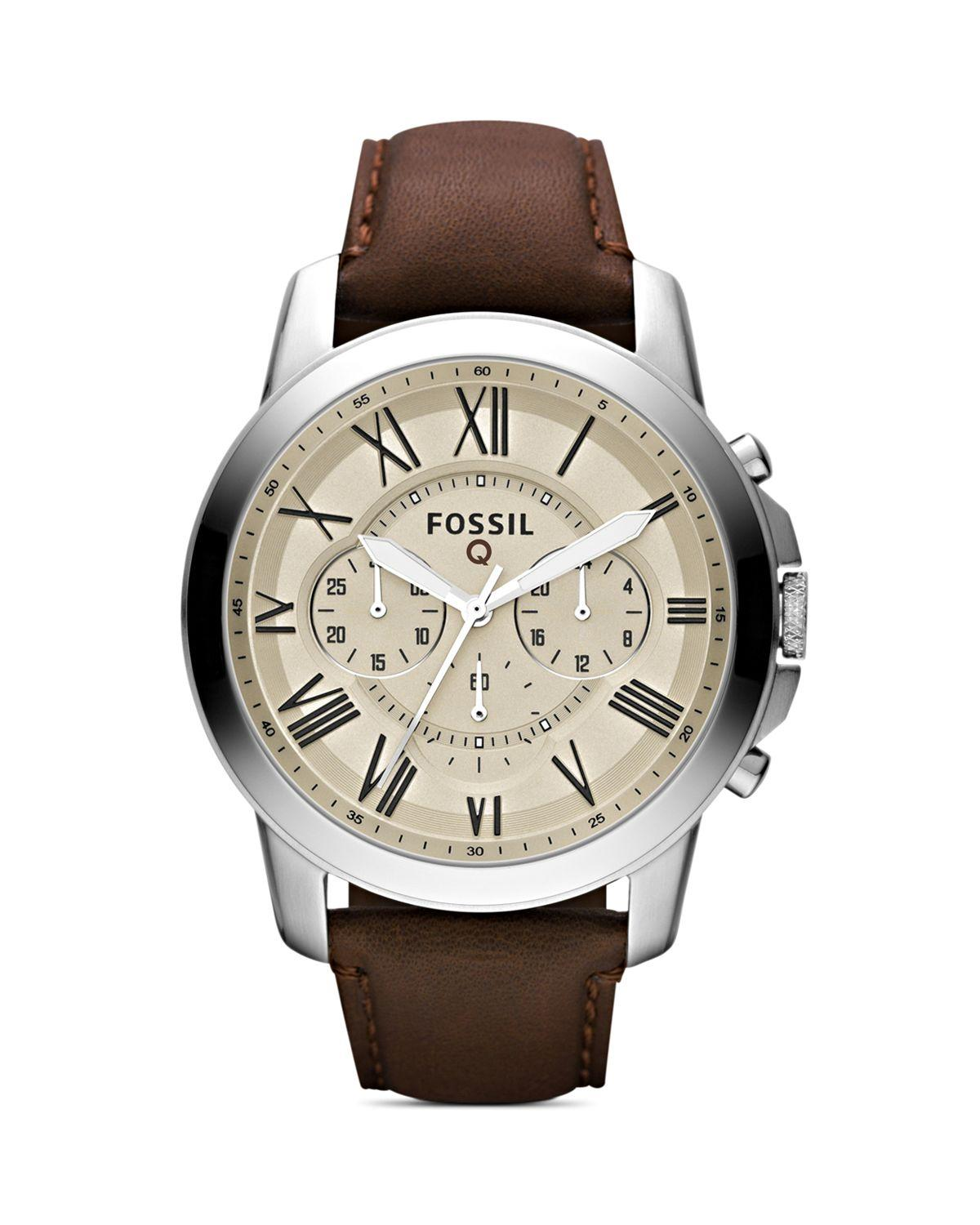 Lyst Fossil Q Grant Leather Strap Tech Watch 44mm In Natural Bq 3030 Gallery