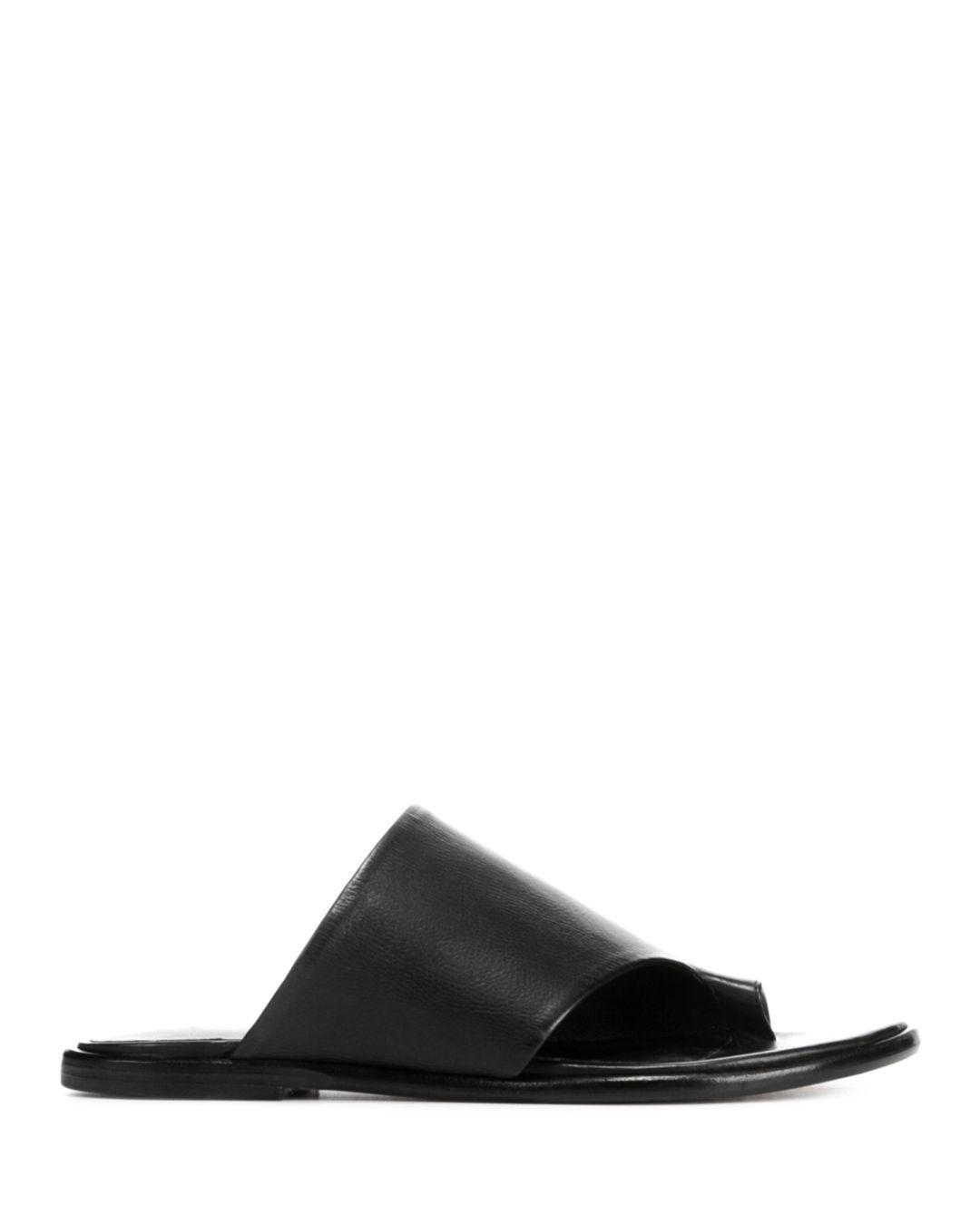 2ffdf728a8f561 Lyst - Vince Edris Flat Siviglia Leather Slide Sandals in Black