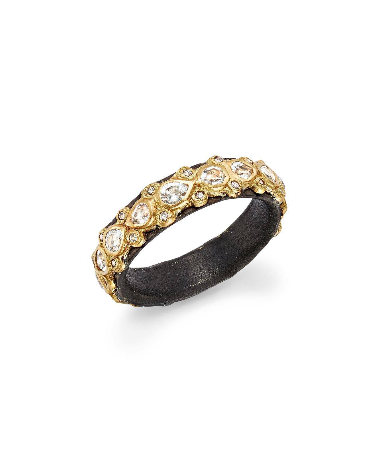 Armenta New World Blackened Scalloped Ring with Diamonds & Black Sapphires 1sibqhw