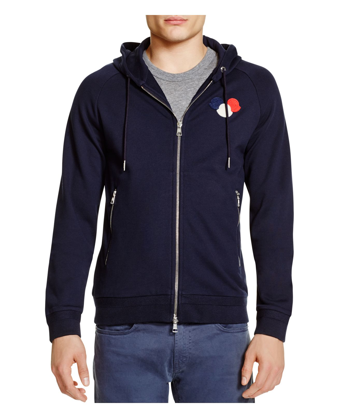 5a8f2b1f27d1 Lyst - Moncler Triple Logo Hoodie in Black for Men