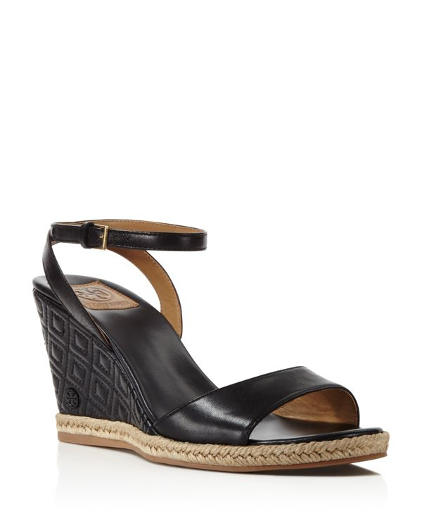 Lyst Tory Burch Marion Quilted Wedge Sandals In Black