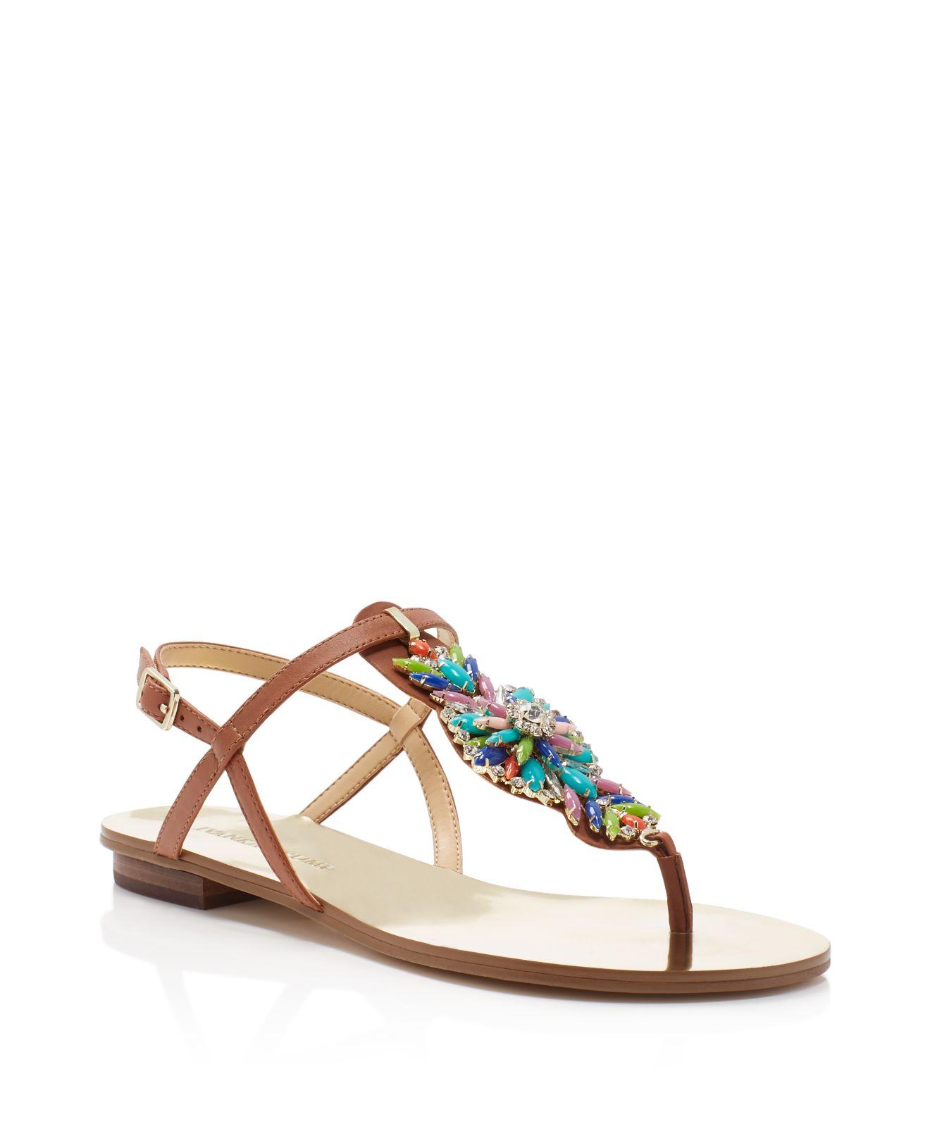 a3cf4df60 Ivanka Trump Fyona Embellished T Strap Sandals - Lyst