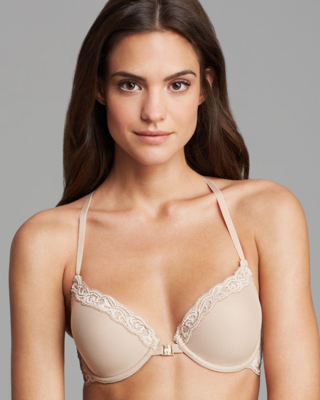 d69d4690eb952 Lyst - Natori Feathers Front Close T-back Bra in Natural - Save ...