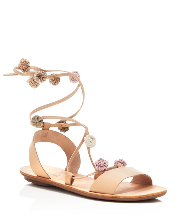 Loeffler Randall Saskia Lace Up Pom Pom Flat Sandals In
