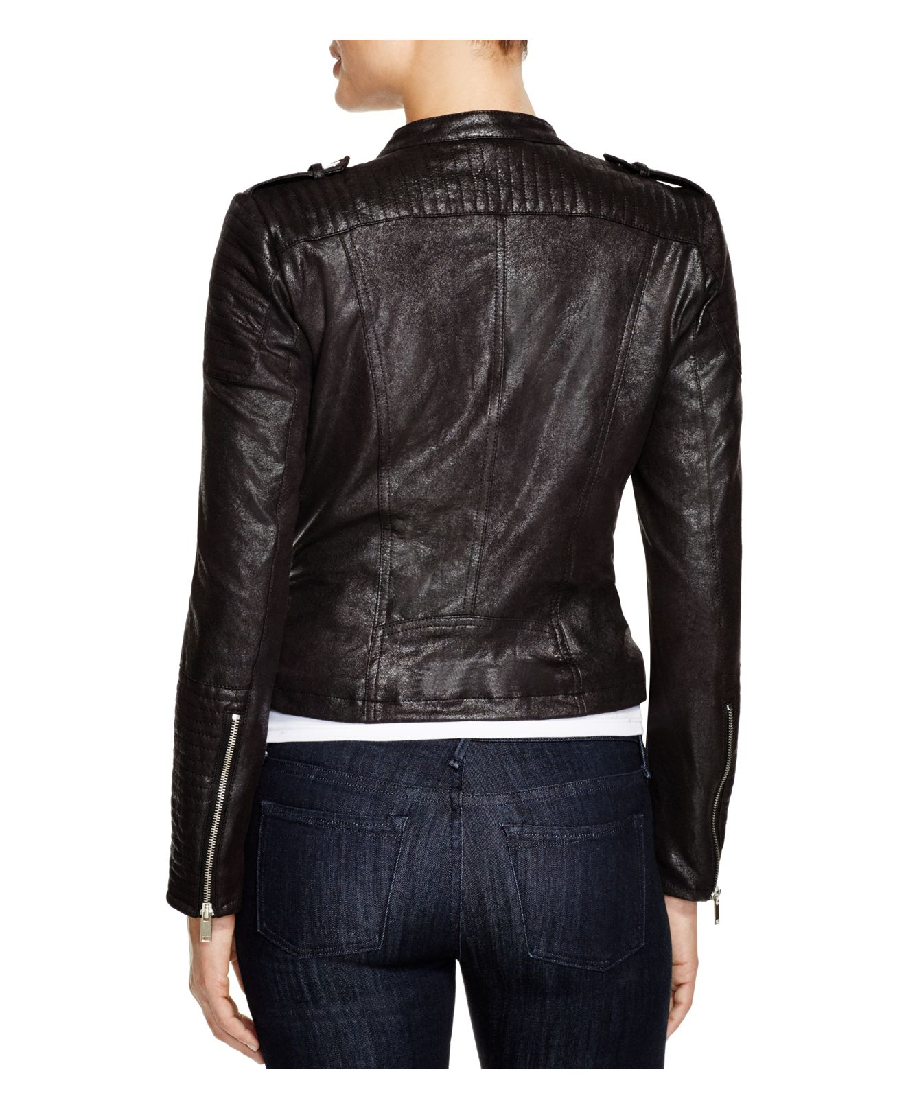 vero moda faux leather moto jacket in black lyst. Black Bedroom Furniture Sets. Home Design Ideas