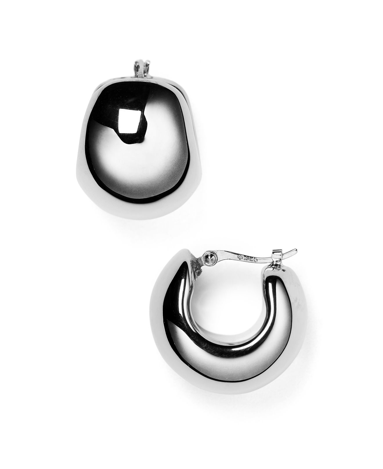 Nancy b huggie hoop earrings in metallic silver lyst for Nancy b fine jewelry